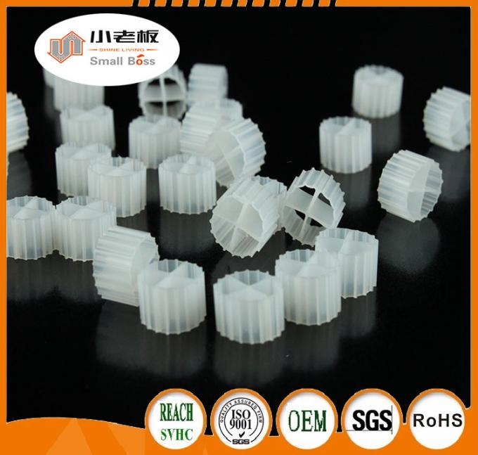 White Color MBBR Media Biofilm Carrier With Super Decarburization And Virgin HDPE Material